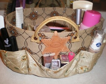 Purse organizer /Insert organizer /Bathroom organizer / bathroom basket organize/ diaper bag  in Beautiful Beige floral embroidery