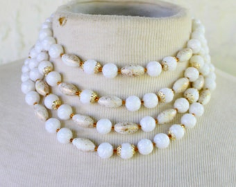 1950s Multi Strand Statement Necklace White Gold Speckled West Germany Signed Vintage