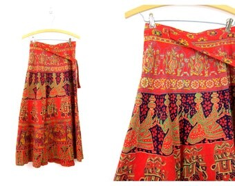 Vintage Orange cotton Skirt FA Chatta Made in India Ethnic Batik Wrap Skirt Indian Dancers Elephants skirt Hand Printed Womens Size Small