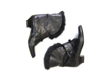 Black Leather Booties with RABBIT FUR Lined 80s Ankle Boots Italian Designer Winter Booties Pointy Toe Boots Low Heel Boots Womens 7.5