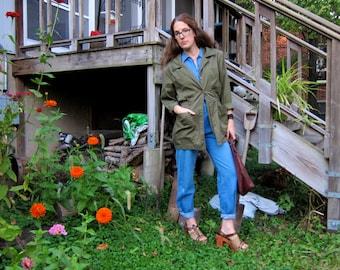 Army Green Button Up Shirt Jacket Or Mini Dress 90s 80s Cinch Waist Womens Utility Military Jacket Tunic Top Safari Outdoors Small Medium