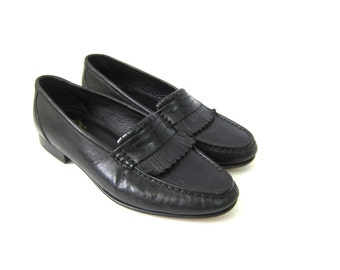 Men's Black Leather Fringe Loafers Oxfords Leather Dress Shoes Florsheim Oxfords. Men's 8.5 / women's 10