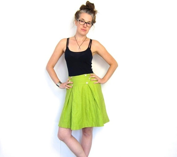 60s lime green high waist skirt 1960s a by dirtybirdiesvintage