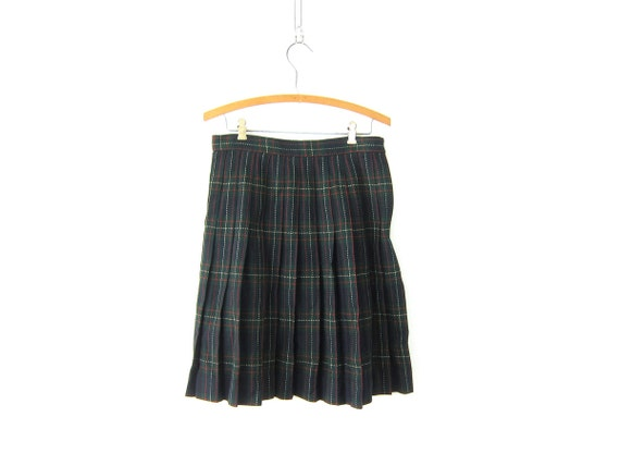 Plaid Wool Kilt Skirt School Girl PLEATED Green High Waisted 90s Preppy Checkered Revival Vintage Lolita Knee Skirt 1980s Size 10 Medium