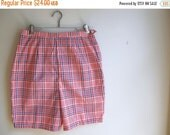 CYBER MONDAY SALE 1960s Vintage Red White Blue Plaid High Waisted Shorts