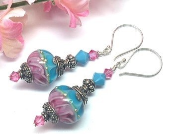 Elegant Earrings Lampwork Earrings Glass Earrings Artisan Earrings Handmade Earrings Beaded Earrings Glass Bead Earrings Pink Earrings