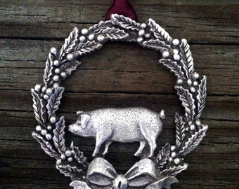 Christmas Wreath With Pig Pewter Ornament