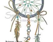 """Dreamcatcher Nr.1 Doodle 5x7"""" 13x18 cm Machine Embroidery Design"""