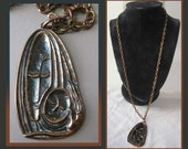 Mother and Child Mid Century Artist Pendant On Long Chain,Hungary,Mary and Jesus,New Baby,New Mother,Vintage Jewelry,Unisex