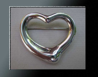 Open HEART-Iconic Elsa Peretti for Tiffany Sterling Silver Sculptural Heart Brooch,Made in Spain for Tiffany,Vintage Jewelry,Women