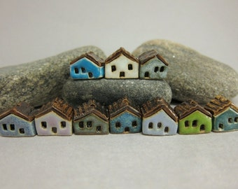 READY TO SHIP...10 (ten) Miniature House Beads in Stoneware