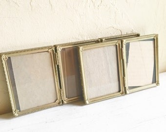 Pair of Matching Vintage Gold Metal Hinged Picture Frames 3.25 x 4.25 Bi-folds