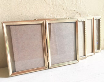 Set of Vintage Bi-Fold Gold Metal Picture Frames All 3.25 x 4 Inch Folding 4 Four