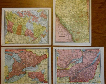 Canada Collection 4 old map set, small size 1920s G F Cram Vintage Maps, Dominion of Canada, Ontario, Quebec, Alberta, wall art maps