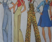 Vintage 1975 Overalls and Jumper Sewing Pattern Simplicity 7006, Bust 32.5