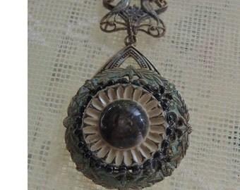 Vintage Button Assemblage Necklace, Antique Celluloid Button, Rare Button Necklace