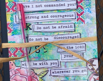 journal notebook and Mixed Media Art Joshua 1:9