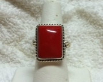 Pretty Red Coral and Silver Ring, Size 6