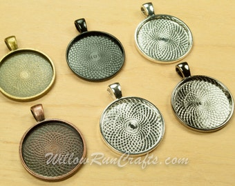 100 pcs 1 Inch Circle Pendant Trays (25mm), Ant Bronze, Ant Copper, Ant Silver, Black, Gun Metal and Silver, Blank Bezel Cabochon Setting