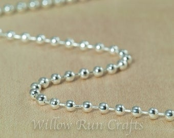 """50 Shiny Silver Plated Metal Ball Chain 2.4mm Necklaces with connectors, 24"""" length (15-40-262)"""