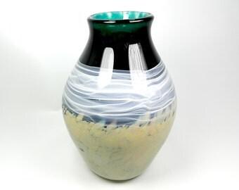 Handblown Art Glass Vase in Dark Blue with Smoky White Swirl, Home Decor, Modern, Wedding Gift, Gift for Her