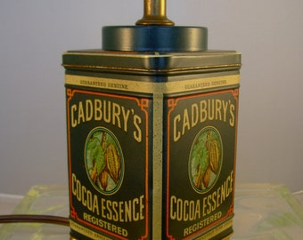 Vintage 1977 Cadbury's Cocoa Essence Advertising Tin Repurposed Table Lamp Decor Without Lamp Shade