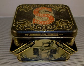 Vintage Singer Sewing Machine Tin with Handles Filled with Vintage Buttons