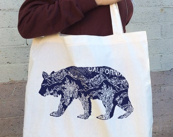 California BEAR Cotton TOTE - Hand Screen Printed American Apparel Bag - made in USA