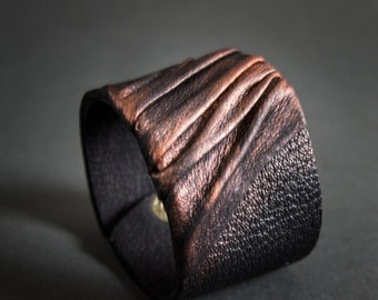 50% OFF SALE Elegant leather  bracelet cuff Statement jewelry Wide wristband Copper color