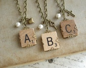 Scrabble Letter Necklace. Custom Initial Necklace. Brass Filigree Wrapped Letter A B C D E F G H I L N O P Q R S T U V W X Y Z Necklace.