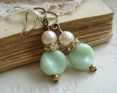 Beaded Earrings. Vintage Assemblage Earrings. Jadeite Green and Pearl Earrings Published in Jewelry Affaire Magazine. PreciousPastimes.
