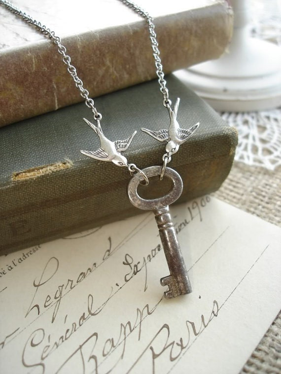 LOVE NEST - Antique Key Necklace with Love Birds. Vintage Skeleton Key Necklace. Rustic Romantic Upcycled Key Jewelry. PreciousPastimes.