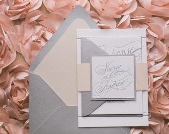 Silver and Blush Romantic Calligraphy Wedding Invitation - SAMPLE (Gianna)