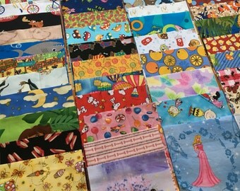 100 6 inch quilt squares ALL GIRLS  - Great for I Spy or rag quilt kit / cotton / novelty Lot A