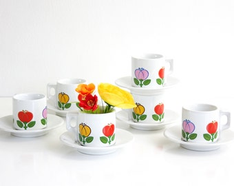 Vintage Colorful Flower Espresso Cups and Saucers / Mid Century Tulip Demitasse Cups by ACF Italy