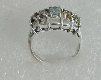 Vintage Multi Stone Sterling Silver Ring
