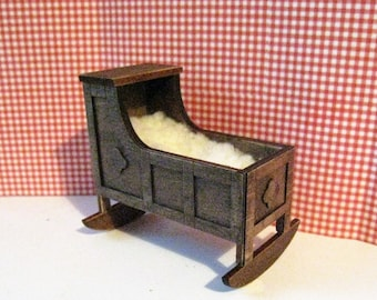 Dollhouse Tudor Cradle, dark oak cradle,  hooded cradle, sheepskin blanket, Mini cradle, Twelfth scale, dollhouse miniature