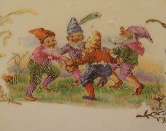 6 reticulated plates with elves or gnomes and animals
