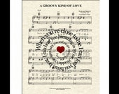 A Groovy Kind Of Love Song Lyric Sheet Music Art Print, Words in Spiral, Song Lyric Art Print, Musicial Art, Phil Collins Song, Lyrical Art