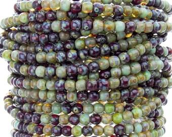 4mm Rainforest Picasso Mix Czech Glass Round Beads - Qty 50 (AW7)