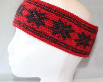 Vintage Red and Black Knit Norway Snowflake Headband