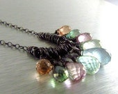 25% Off Summer Sale Multi Pastel Gemstone With Oxidized Sterling Silver Necklace