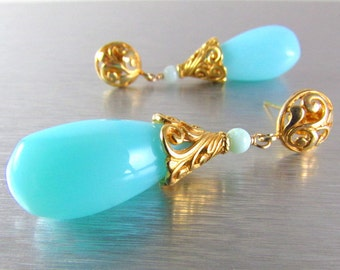 Peruvian Opal And Gold Vermeil Ornate Post Earrings
