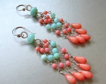 20 % Off Coral and Blue Peruvian Opal Wire Wrapped Dangle Earrings