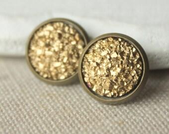 Gold Druzy STUD Earrings or Druzy CLIP on earrings Gold Druzy Earrings Druzy Post Druzy Jewelry 12mm or 8mm fake plugs Faux Druzy plug E509