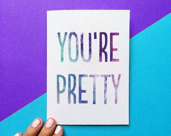 valentine card funny valentine card you're pretty funny card for her valentines card romantic card friend valentine card valentines day gift