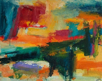 Barrier ABSTRACT Painting 16 x 20 ORIGINAL landscape orange contemporary