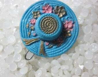 vintage barrette,  blue hat ,