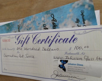 Give the Gift of Memories 100 Dollar Gift Certificate and Collection Kit Gift Set for Custom Pet Cremation Art Service