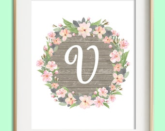 Letter d printable instant download baby girl nursery wall letter v printable instant download baby girl nursery wall art girl nursery decor altavistaventures Choice Image